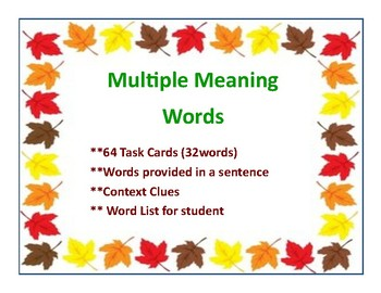 Multiple Meaning Words/Context Clues