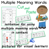 Multiple Meaning Words used in sentences Cut and Paste