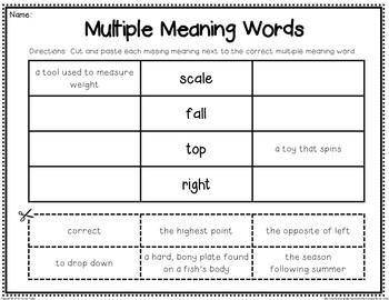 Multiple Meaning Words (Homographs) by Second Grade Smiles | TpT