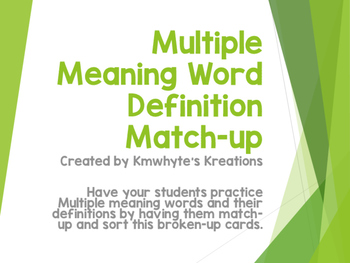 Multiple Meaning Words & Definitions Match-up Game