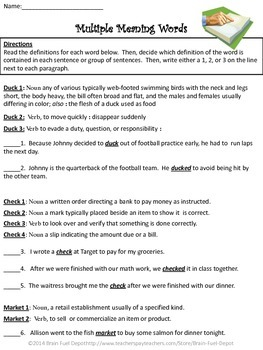 Multiple Meaning Words, Dictionary Skills