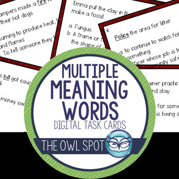 Multiple Meaning Words Digital Task Cards