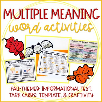 Multiple Meaning Words: Fall Activities, Task Cards, Bats Informational Text