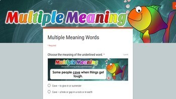 Multiple Meaning Words Google Classroom Digital File