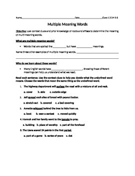 Multiple Meaning Words Guided Notes with Assessment
