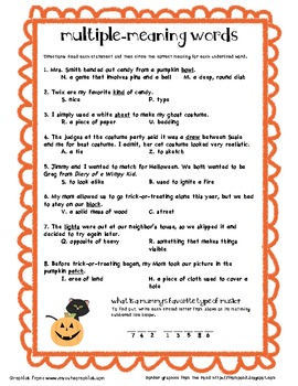 Multiple Meaning Words (Halloween) by Holly Daley | TpT