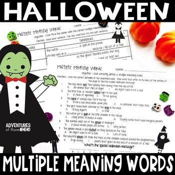 Multiple Meaning Words Halloween Themed Worksheets