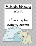 Multiple Meaning Words Homograph Homophone Common Core Activity