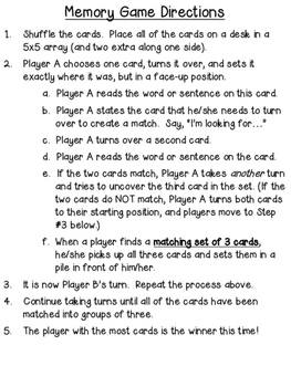 Multiple Meaning Words (Homographs) Memory Game