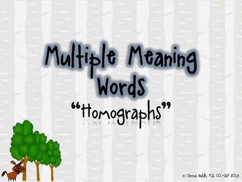 "Multiple Meaning Words ""Homographs"" Mini-lesson!"