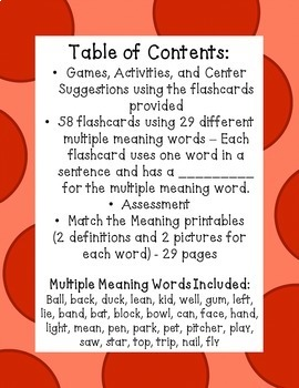 Multiple Meaning Words (Homographs) - NO PREP - Flashcards, Activities, Test