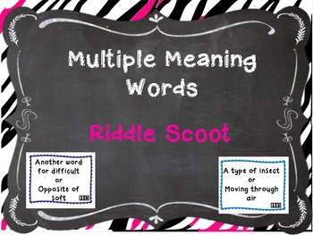 Multiple Meaning Words Homonym Scoot