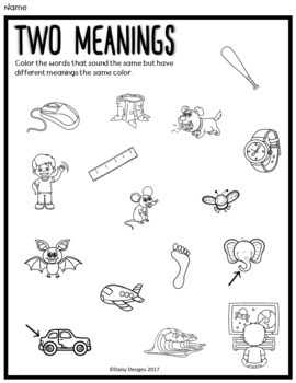 Multiple Meaning Words / Homonyms - Training Words Match Game