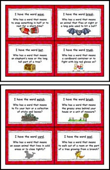 "Multiple Meaning Words ""I Have Who Has"" Read Around Game"