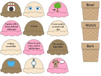Multiple Meaning Words Ice Cream Sort