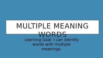 Multiple Meaning Words Intro