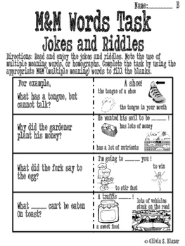 Multiple Meaning Words Jokes/Riddles Common Core Differentiated Task Pack Gr.6-8