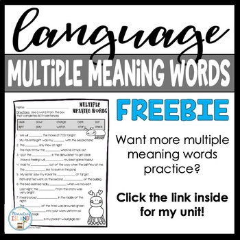 FREEBIE! Multiple Meaning Words ~ Language