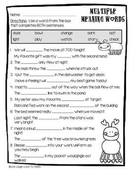 Multiple Meaning Words Worksheet by Elementary Island   TpT