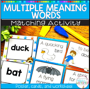 Multiple Meaning Words Task Cards, Posters, and Worksheet