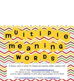 Multiple Meaning Words - [Literacy Center/Lesson Activity]