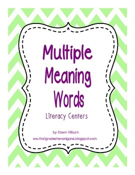 Multiple Meaning Words Literacy Centers