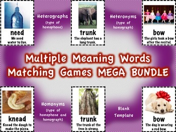 Multiple Meaning Words Matching Games MEGA BUNDLE