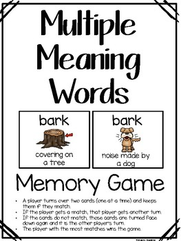 Multiple Meaning Words Memory Game