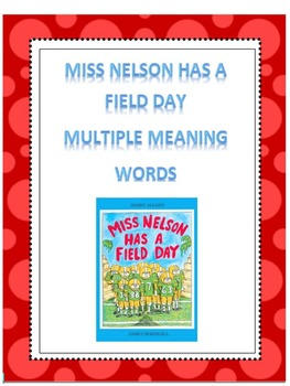Multiple Meaning Words-Miss Nelson Mentor Text and Create Your Own Booklet!