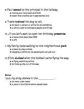 Multiple Meaning Words PRINTABLE (L 2.4)