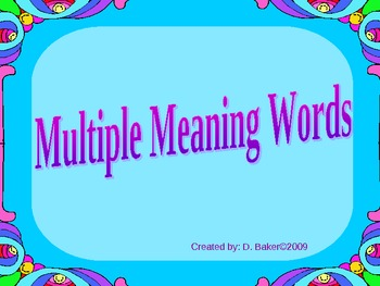 Multiple Meaning Words Power Point Presentation