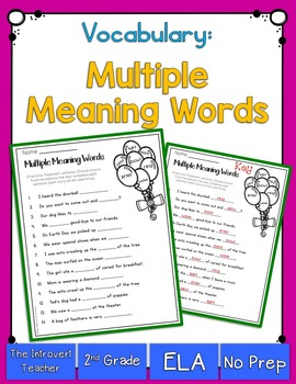 Multiple Meaning Words Practice