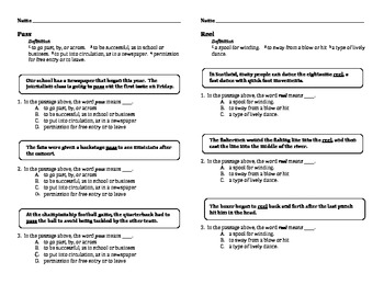 Multiple Meaning Words Practice Pages for Common Core