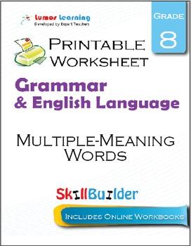 Multiple-Meaning Words Printable Worksheet, Grade 8