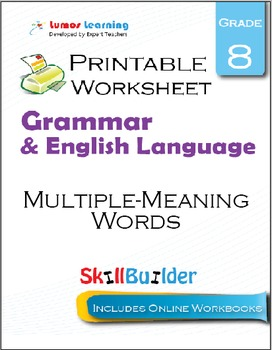 Multiple-Meaning Words Printable Worksheet, Grade 8