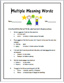 Multiple Meaning Words Questions