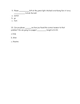 Multiple Meaning Words Quiz