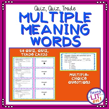 Multiple Meaning Words Quiz, Quiz, Trade Cards
