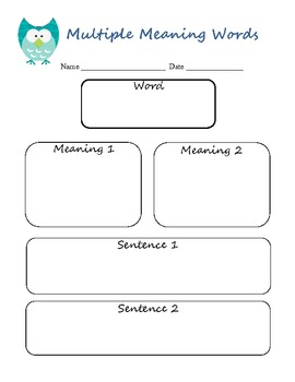 Multiple Meaning Words Reading/Writing Graphic Organizer