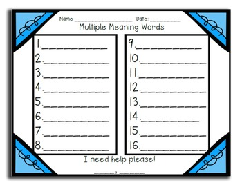 Multiple Meaning Words Review Game for Your Entire Class - 3rd Grade