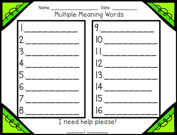 Multiple Meaning Words Scoot Review Game for Your Entire Class