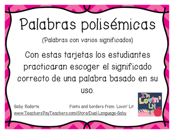 Multiple Meaning Words SPANISH (Palabras polisémicas)