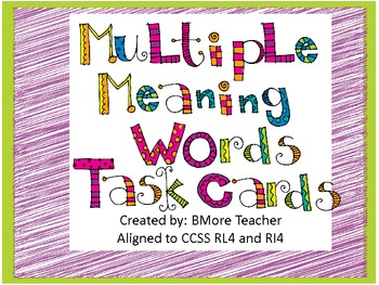 Multiple Meaning Words Set of Task Cards