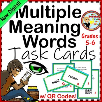 Multiple Meaning Words Task Cards w/ QR Codes (6th-8th)