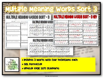Multiple Meaning Words Sort 3