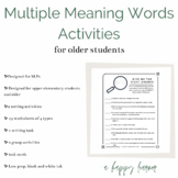 Multiple Meanings Word Retrieval/Vocabulary Activity | Dis