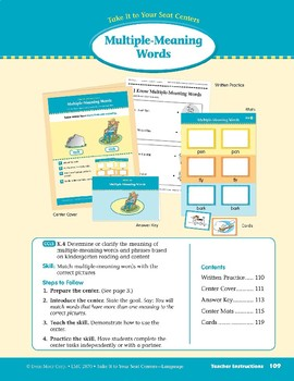 Multiple-Meaning Words (Take It to Your Seat Centers: Common Core Language)