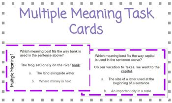 Multiple Meaning Words Task Card