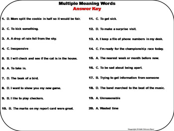 Multiple Meaning Words Task Cards 3rd 4th 5th 6th Grade Homographs