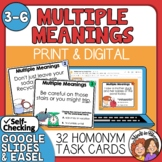 Multiple Meaning Words Task Cards with Easel Activity Option Set 1